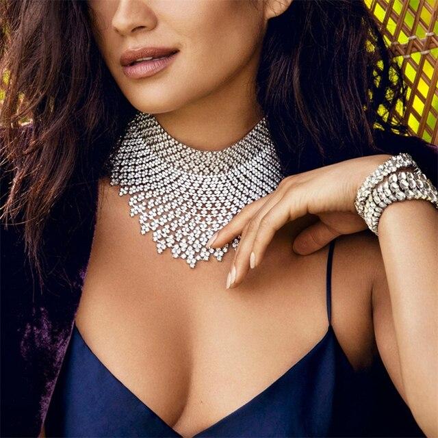 Jewdy Rhinestone Choker Luxury Statement Wedding Chocker Big Tassel Necklace For Women Flower Collier 2017 Fashion Jewellery 1