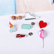 Free Shipping Cute college wind art fresh white shoes glasses brooch pin accessories pin up dress
