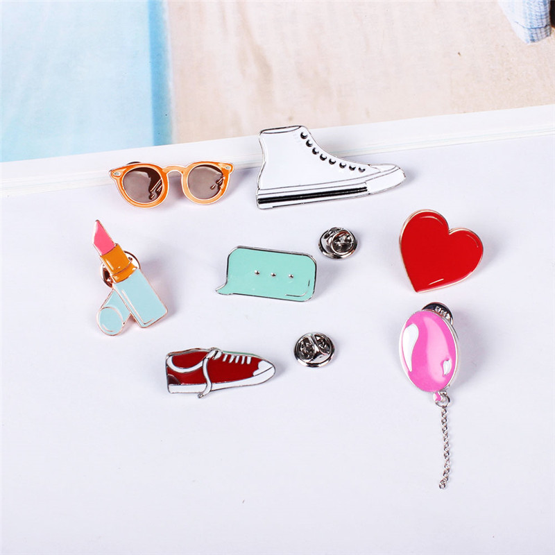 Free Shipping Cute college wind art fresh white shoes glasses brooch pin font b accessories b