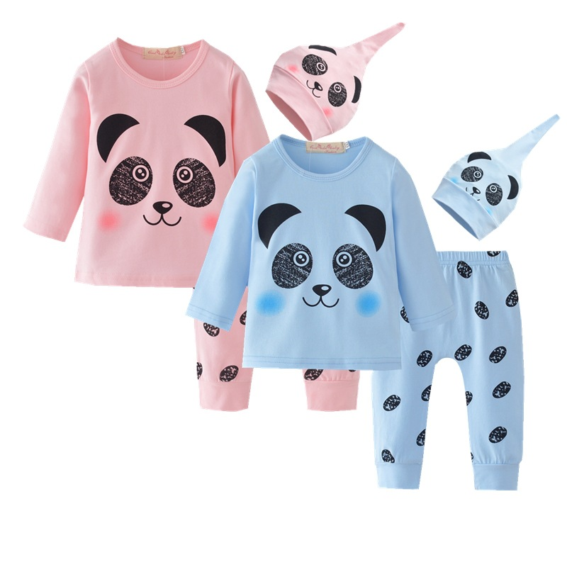 Autumn New 2019 Baby Boy Clothes Long-sleeved Panda T-shirt Hat 3 Sets Of Casual Suit Baby Clothing Baby Clothing 0-24 Pants