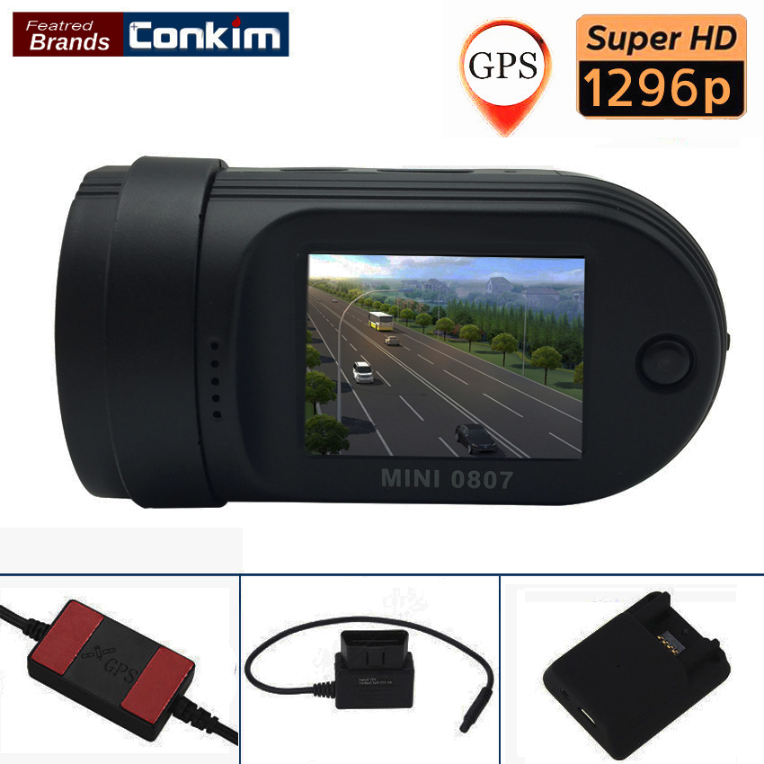 Conkim Car DVR Camera Mini 0807 Ambarella A7 1080P Full HD 1.5 LCD 24 Hours Parking DVR ADAS GPS Logger Dual TF Card conkim mini 0807 ambarella a7 dash camera 1080p full hd video recorder registrar car dvr gps parking guard record dual tf card
