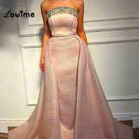 Dubai Abaya Pink Evening Dress Strapless Women Sexy Prom Dresses Vestido De Festa 2018 Abendkleider Party Dress For Weddings