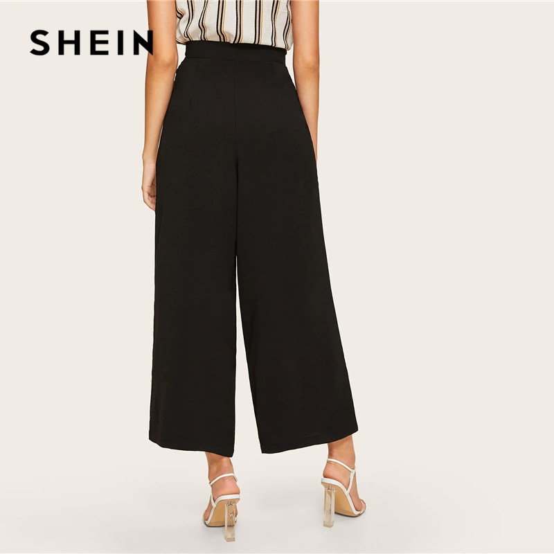 633294d114 SHEIN Zip Side Slant Pocket Wide Leg Crop Pants 2019 Elegant Women Black  Solid Spring Autumn Trousers Wide Leg Pants-in Pants & Capris from Women's  Clothing ...