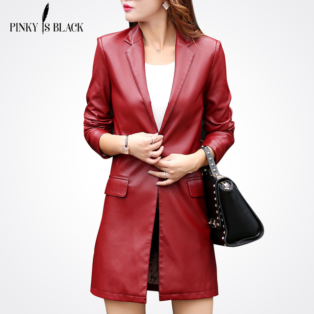Leather Jacket Women Top Fashion New Plus Size Slim  PU  Ladies Faux Synthetic Long Leather Trench Coat Female Jaqueta Mujer