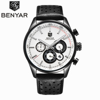 BENYAR Mens Luxury Quartz Watch Men Waterproof Chronograph Military Watches Male Sports Clock Leather Wristwatch Montres
