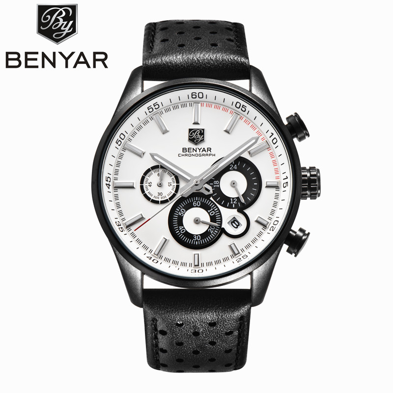 BENYAR Mens Watches Top Brand Luxury Chronograph Military Watch Men Sports Casual Male Clock Leather Wristwatch Montres Homme 2016 new third hand soldering iron stand helping clamp vise clip tool glass jeweler loupe magnifying glass
