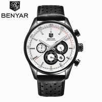BENYAR hommes Montres Top marque de luxe chronographe montre militaire hommes sport décontracté mâle horloge en cuir montre-bracelet Montres Homme