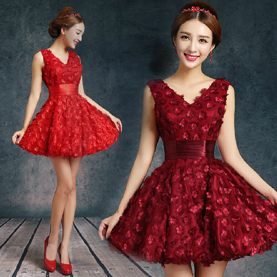 Red Girls Ball Short V Neck   Cocktail     Dresses   Mini Sexy A Line Grils pageant Party Gown   cocktail     dresses   prom   dresses