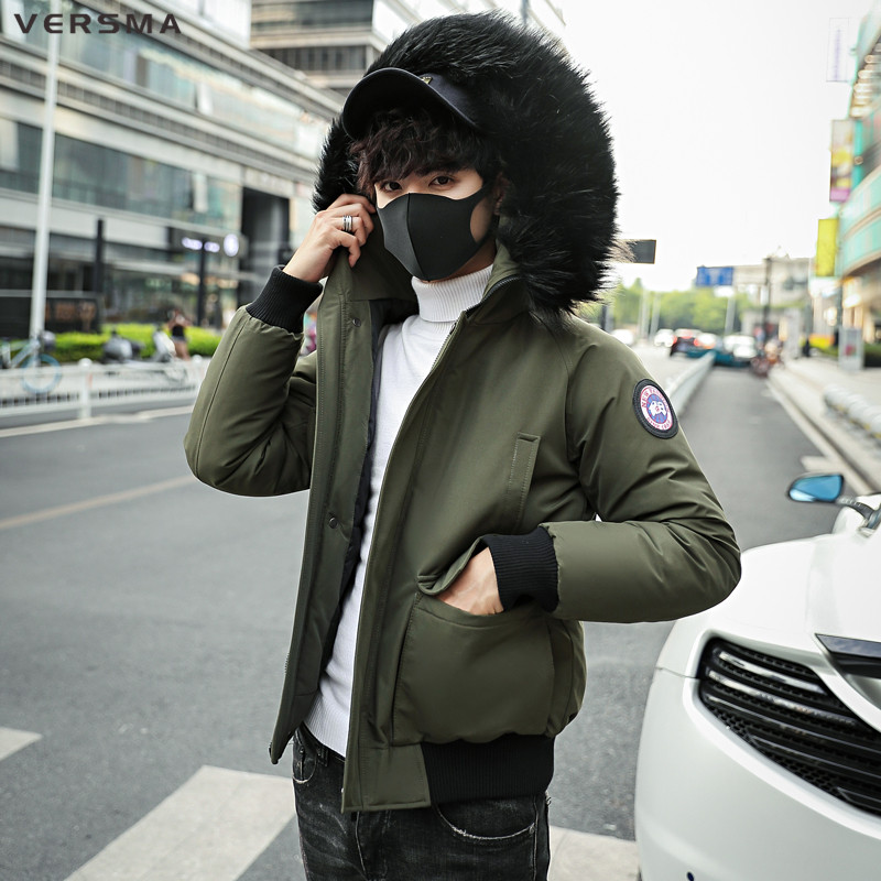 VERSMA 2018 Fashion BF Hooded Winter Jacket Men Thick Warm Fur Collar   Parkas   Men Coat Outerwear Zipper Bomber Jackets Male   Parka