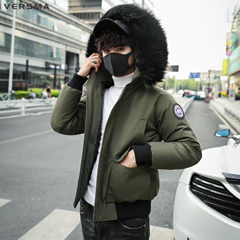 VERSMA 2018 Fashion BF Hooded Winter Jacket Men Thick Warm Fur Collar   Parkas   Men Coat Outerwear Zipper Bomber Jackets Male   Parka