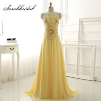 New Arrival Real Picture Yellow Long Prom Dresses Sexy Chiffon Beading Sequined Backless Women Formal Evening
