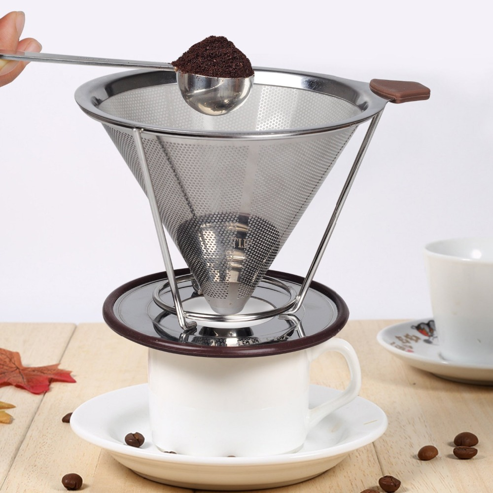 pour over coffee dripper drip coffee filter cone funnel stainless steel paperless reusable. Black Bedroom Furniture Sets. Home Design Ideas