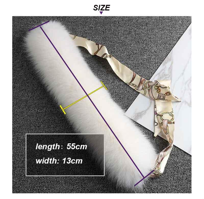 fox fur scarf with ribbon SIZE