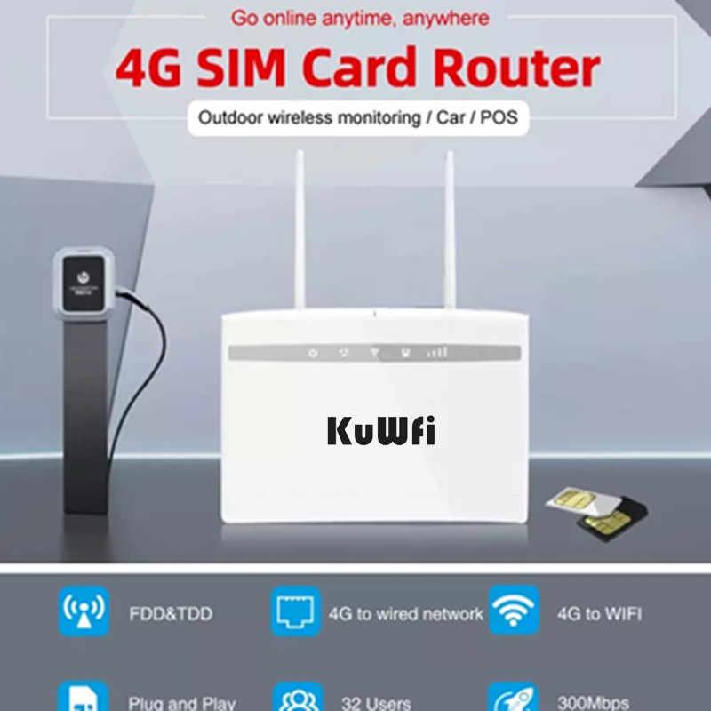 KuWfi 4G CPE موزع إنترنت واي فاي 3G/4G LTE CPE راوتر 4G مودم تصل إلى 32 مستخدم 150Mbps Cat4 راوتر لاسلكي مع هوائيات rj45port 2 قطعة