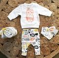 2 ШТ. Новорожденного Мальчика Девушка Одежда Хлопок Пуловер 2016 Осень Топ С Длинными Рукавами + Брюки Устанавливает Сова Наряды