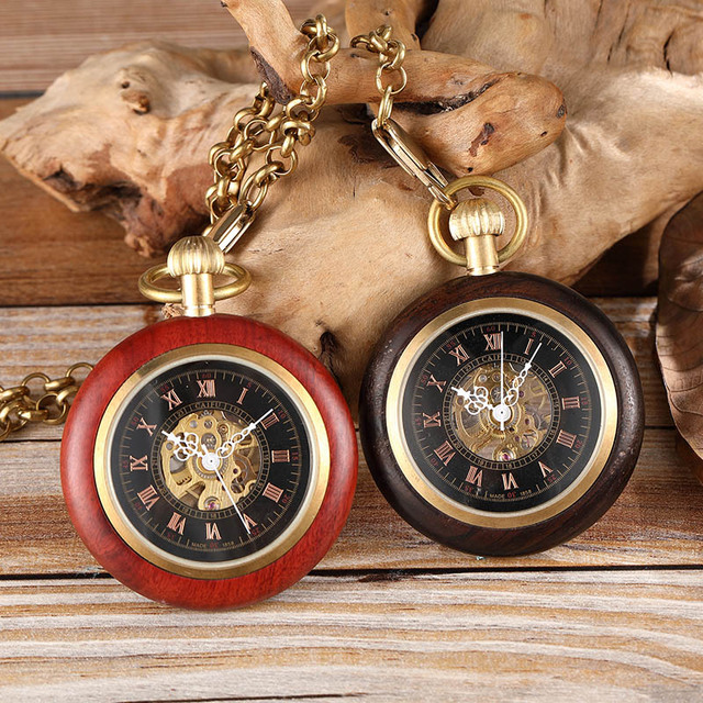 Wooden Gold Pocket Mechanical Watch Ladies Men's Hand Wind Chain Necklace Top Ro
