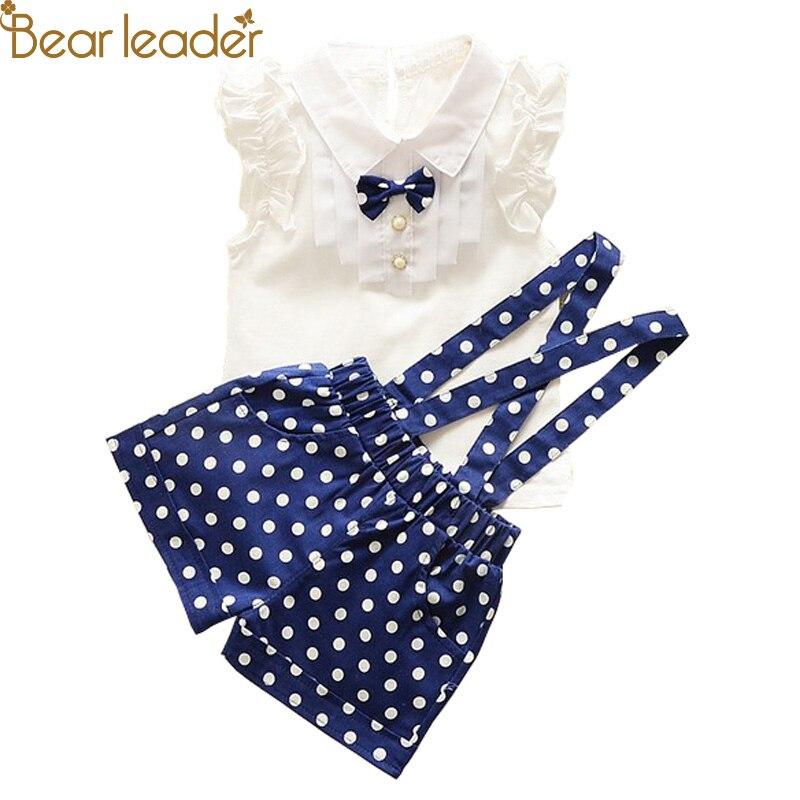 Bear Leader 2017 New Casual Children Sets Bow T-shirt+Strap Polka Dot Pants 2PCS Girls Clothing Sets Kids Summer Suit 3 Colors