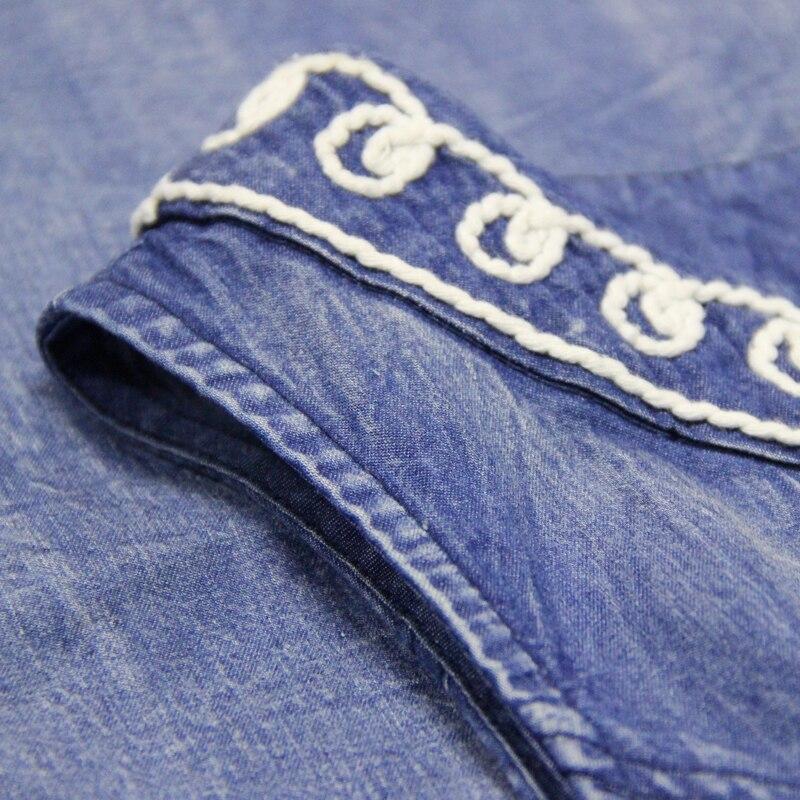 La Taille Femmes Sans Florale De Avec Cru Robe Mode Automne hiver Broderie Jeans Élastique Nouveau Bleu À Manches Eqn7YZU