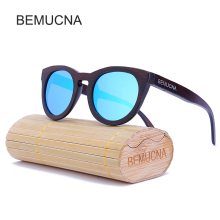 2017 New BEMUCNA Wood Sunglasses fashion Sunglasses Women, Natural Bamboo Handmade Sunglasses Oculos De sol With Case