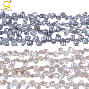 Atacado 7-8mm rosa & cinza cor verdadeira keshi pérolas de água doce solta pérolas beads 16