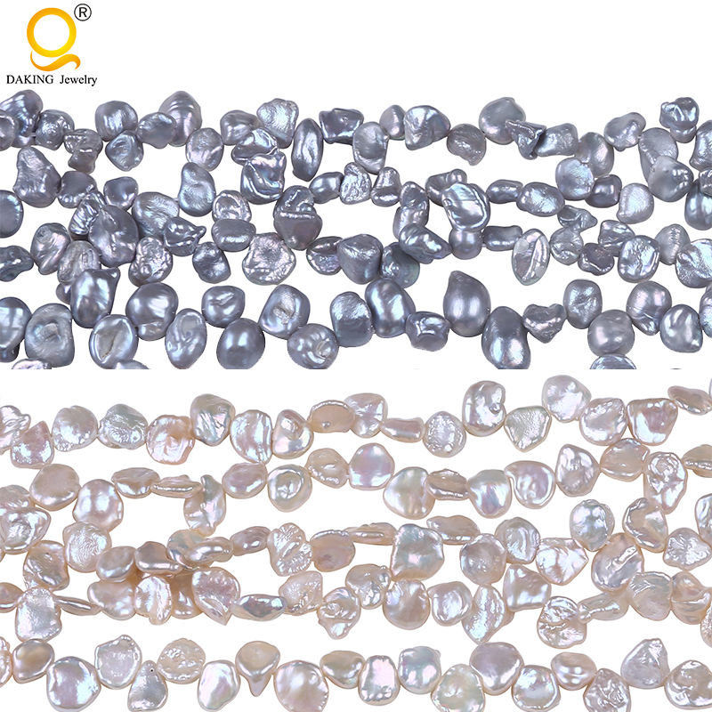Keshi-Cuentas de perlas de agua dulce para fabricación de joyas, cuentas sueltas de 16