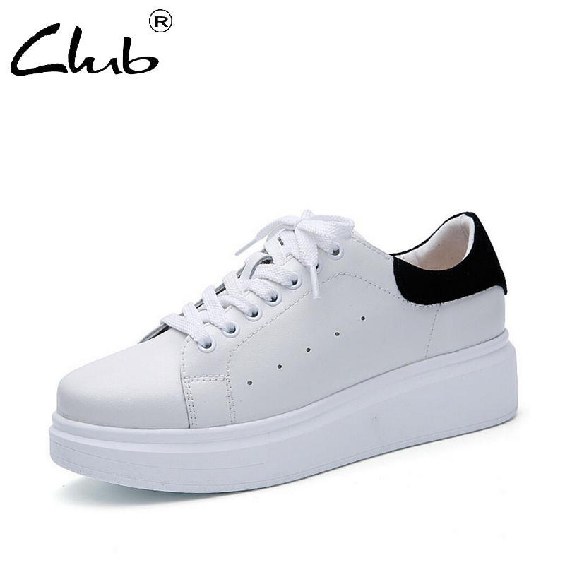 Club Sneakers Women Genuine Leather Flat Shoes 2018 Spring Casual Oxford Shoes For Women Footwear Zapatos Mujer Shoes Platform new brand black white vintage women footwear lace up casual oxford flat shoes woman british style breathable zapatos mujer