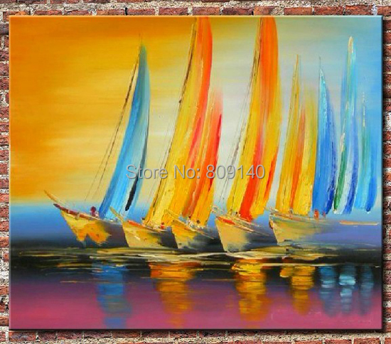 abstract oil painting canvas Boats Sailing to the Dream Colorful ...