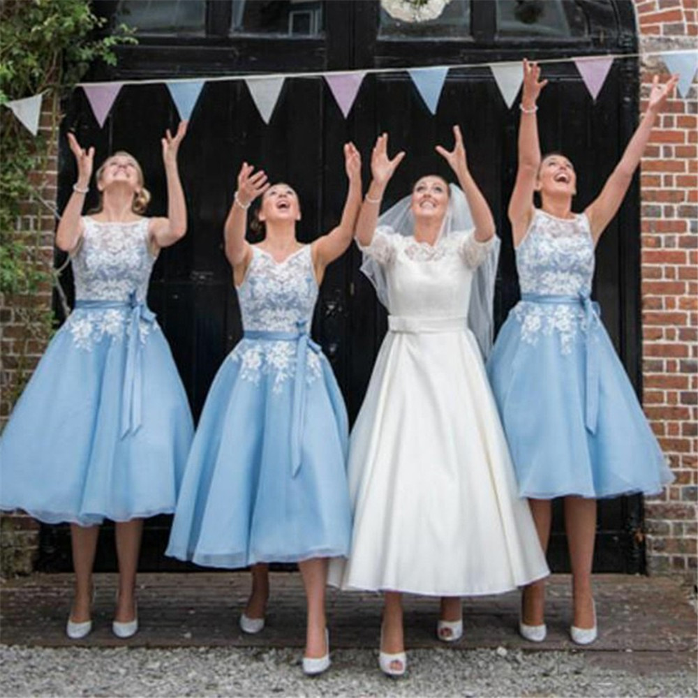 Mint Blue Short   Bridesmaid     Dresses   2019 Tea Length A Line Lace Organza High Quality Wedding Party Gowns Cheap Women   Dress