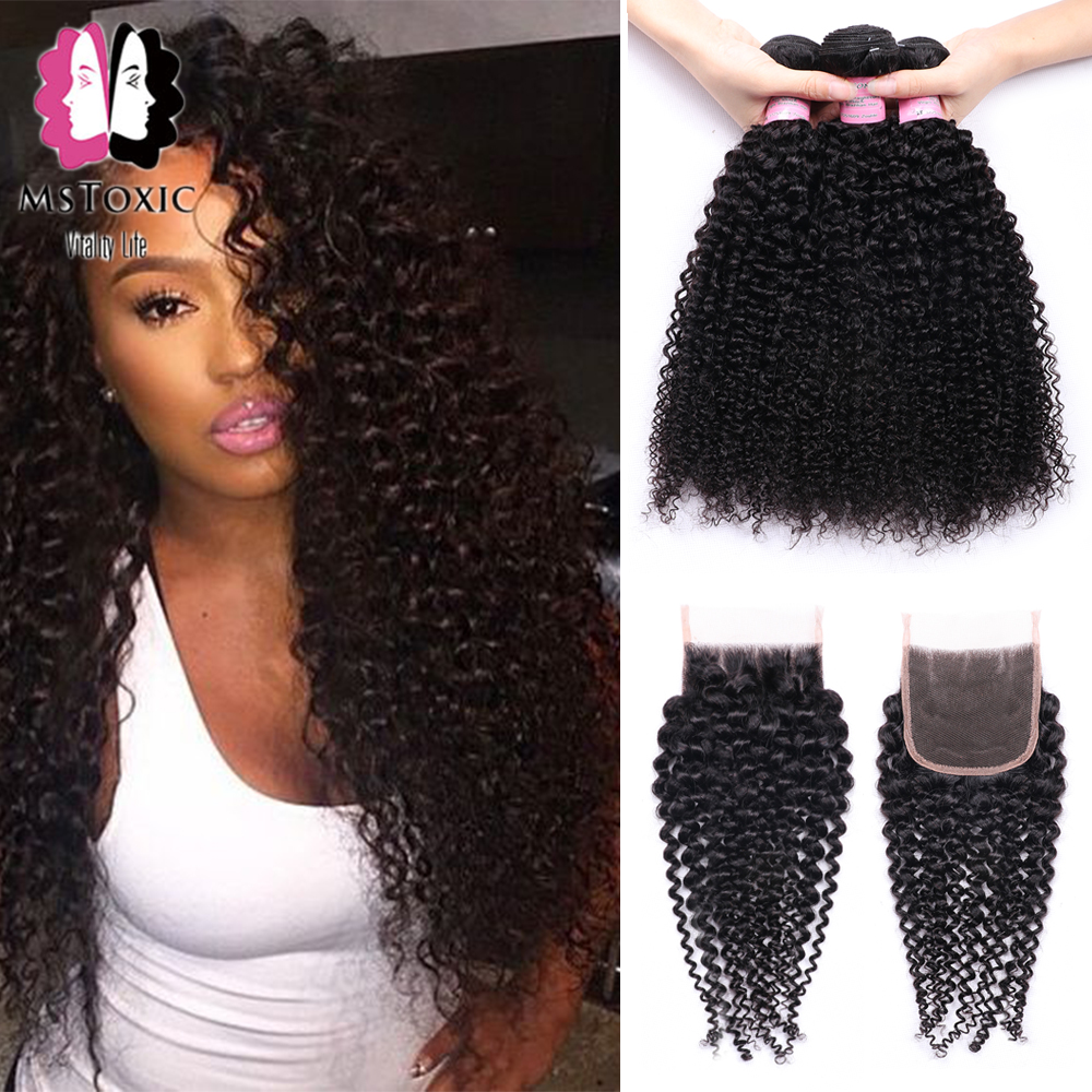 Mstoxic Afro Kinky Curly Bundles With Closure Non-Remy Human Hair Bundles With Closure Brazilian Hair Weave Bundles With Closure
