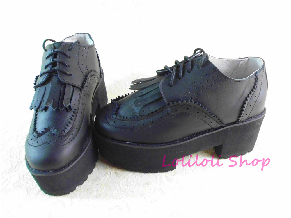 Princess sweet lolita shoes Loliloliyoyo antaina Japanese design black bright skin thick heel cross lacing shoes custom 5249s