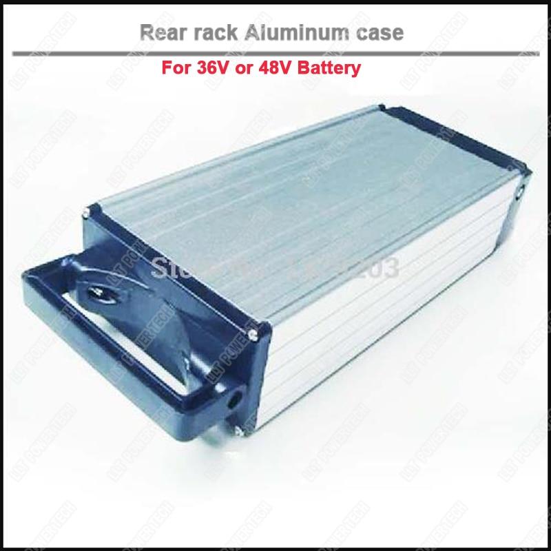 Rear rack type electric bike storage aluminum box for 48V or 36V E bike battery aluminum