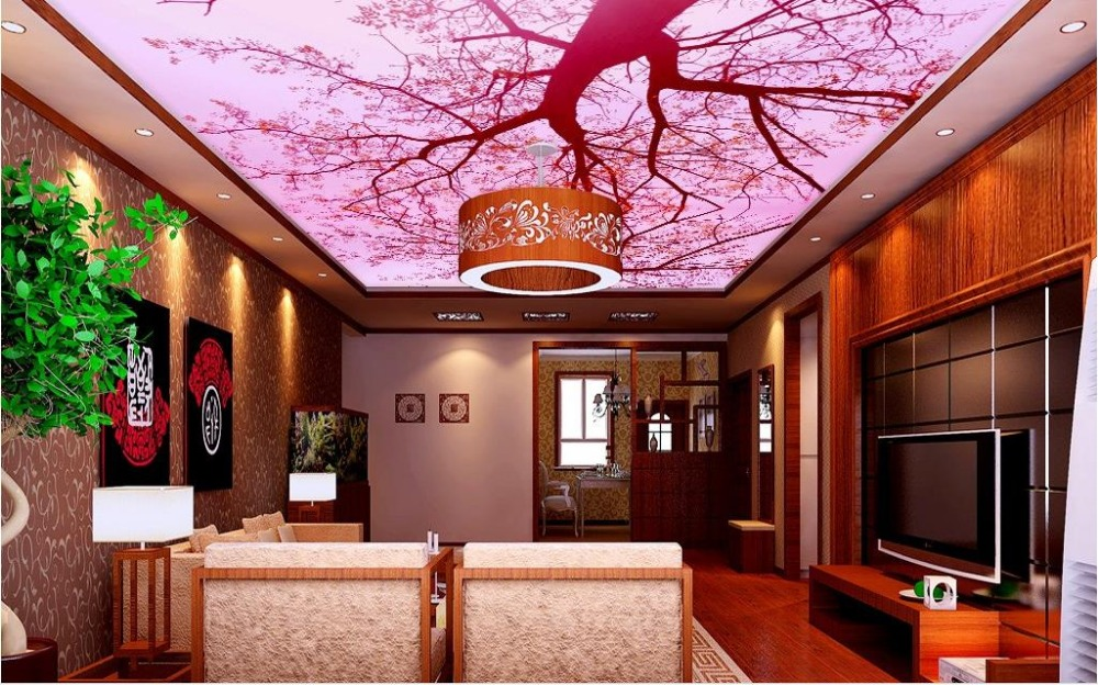 Buy custom 3d wallpaper for ceiling pink for Kitchen wallpaper 3d