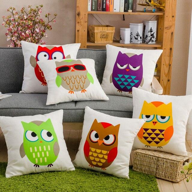 canvas decorative pillows printed owl cushions decorative cushion Couch Pillows Online