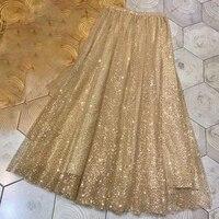Новая модная юбка с блестками женская 2019 весна лето брендовая юбка длинная Плиссированная летняя синяя юбка для женщин высокое качество юб
