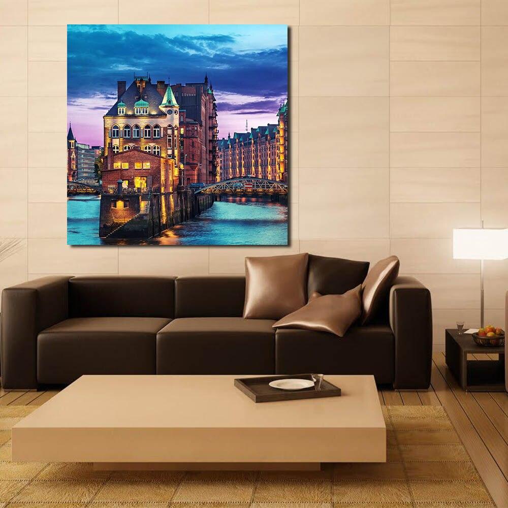 Qcart hamburg deutschland stadt moderne wandbilder f r wohnzimmer malerei wandmalerei bild - Wandmalerei wohnzimmer ...