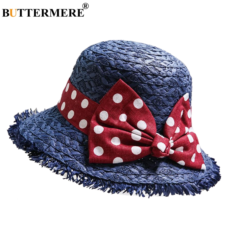 BUTTERMERE Paper Straw Bucket Hat Kids Navy Blue Casual Bob Fishing Hat Girl Cute Uv Bowknot Foldable Child Summer Beach Sun Cap