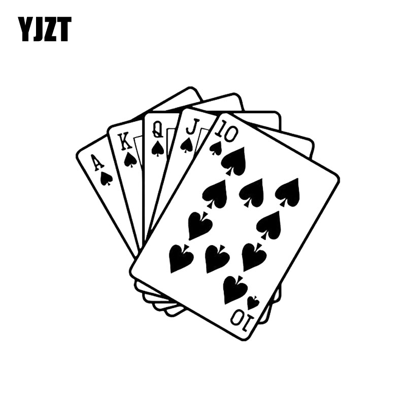 Yjzt 14.2*13.7cm Poker Cubes Combination Car Sticker Vinyl Graphic Decor High Quality Decals Black/silver C12-0083 Excellent Quality In