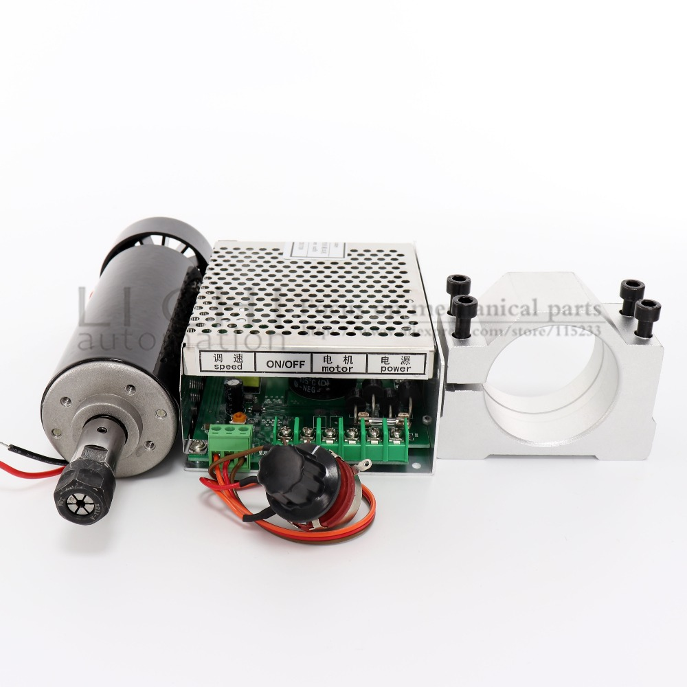 Image 5 - Free shipping 0.5kw Air cooled spindle ER11 chuck CNC 500W Spindle Motor + 52mm clamps + Power Supply speed governor For DIY CNC-in Machine Tool Spindle from Tools