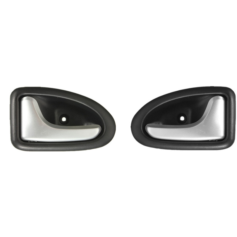 1 Pair Left / Right Black Chrome Car Cable Type Interior Door Handle For Renault For Clio 2000-2009 2/3-4/5 Doors