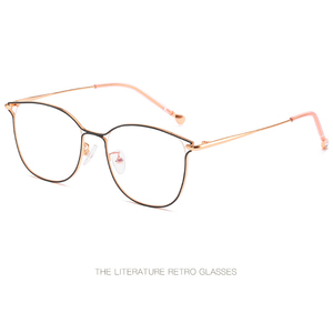 Image 4 - 2019 new ladies optical mirror cat eye fashion can be equipped with myopia glasses frame trend personality square metal glasses.