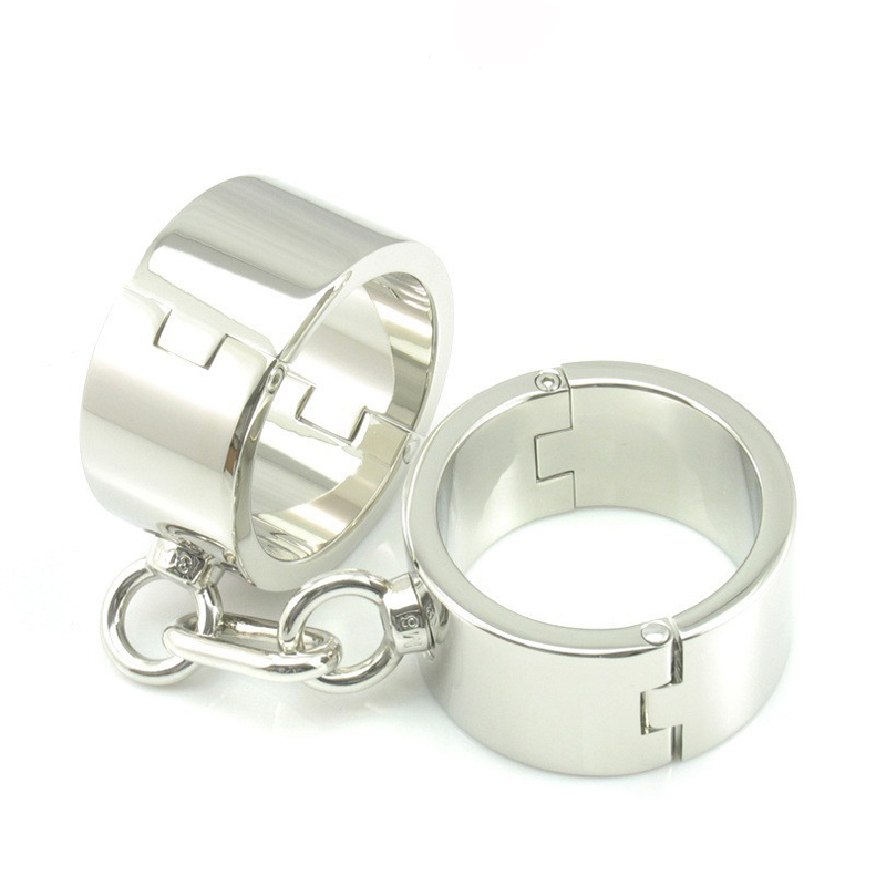 Quality 304 stainless steel handcuffs for sex Heavier and thicker BDSM bondage  wrench opens steel handcuffs sex toys for women chrome vanadium steel ratchet combination spanner wrench 9mm