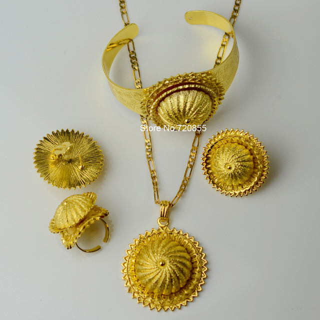 Anniyo big ethiopian chain necklace pendant earring ring bangle set anniyo big ethiopian chain necklace pendant earring ring bangle set jewelry gold color african eritrea wedding aloadofball Images