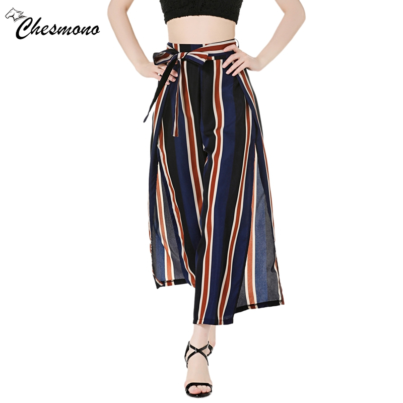 Spring Summer Sexy Women Slit Pants Multicolor striped mid Waist Loose Trousers Waist Self Belted Striped Wide Leg long Pants