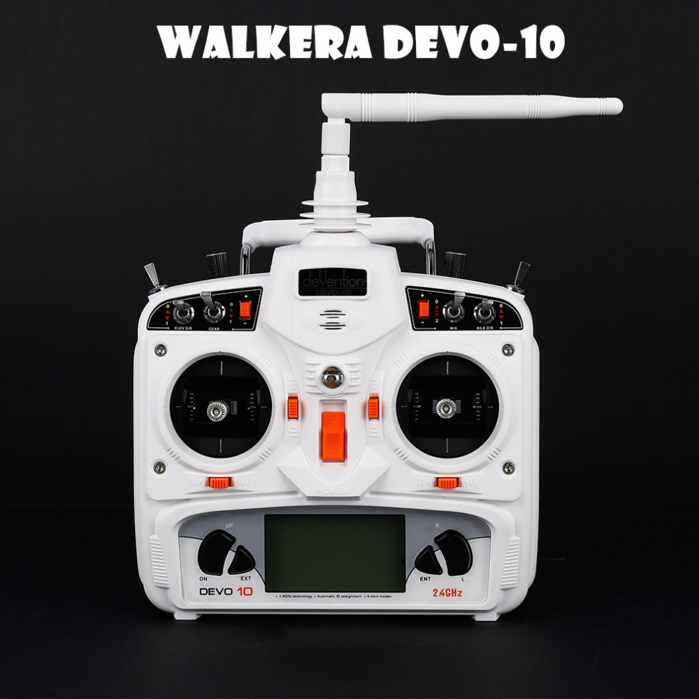 Walkera White DEVO 10 2.4G Transmitter 10CH Receiver Telemetry RC Transmitter for RC Model Airplane Multicopter original walkera devo f12e fpv 12ch rc transimitter 5 8g 32ch telemetry with lcd screen for walkera tali h500 muticopter drone