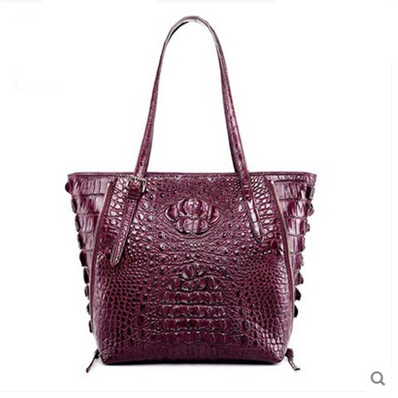 hlt High grade Thai crocodile skin Single shoulder handbag female 2017 new leather large capacity fashion tote bag