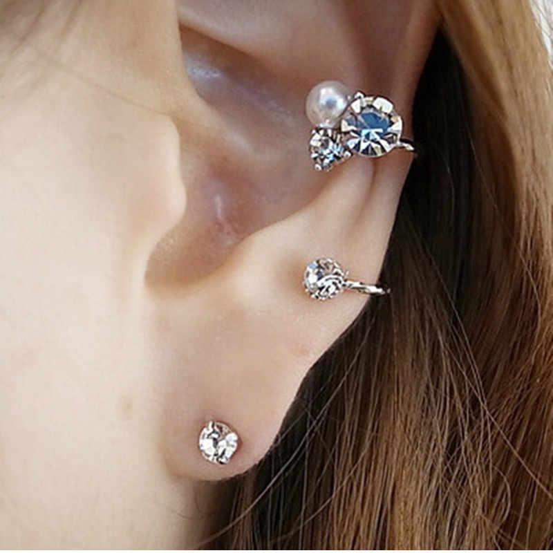 SHUANGR elegante Zirconia cúbica cristal oreja brazalete mujeres Clip pendientes para mujeres Brincos imitación perla joyería boucle d'oreille