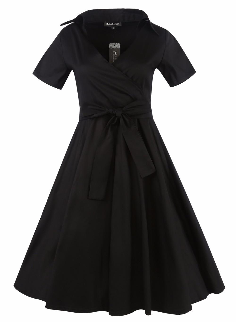 Vintage Ball Gown Polka Dot Wrap Women Dress 2017 Sexy Skater Sashes ...