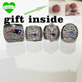 Free  Shipping Replica Super Bowl 4 Years  2001/2003/2004/2014 New England patriots ring set With Wooden Box For Gift