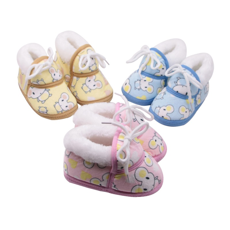 Cute Baby Winter Boots Warm Baby First Walker Shoes Retro Print Shoes Cotton Padded Infant Baby Boys Girls Soft Boots 6-12M
