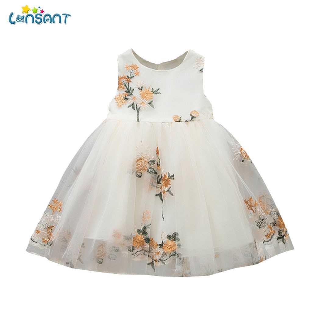 LONSANT Children Clothing New Summer Lace Flower Embroidered Sleeveless Princess Dress Girl Clothes Fashion Baby Girls Dress N30